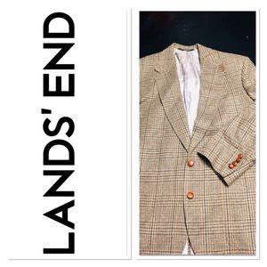 43R Lands End Brown Herringbone Wool Sport Coat